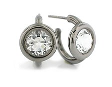 Torus Bezel Hoop in Silver and Rock Crystal by Catherine Iskiw (Silver & Stone Earrings)