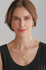 Triple Flower Pendant by Catherine Iskiw (Gold & Stone Necklace)