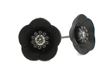 Cherry Blossom Stud in Blackened Silver with Diamonds by Catherine Iskiw (Silver & Stone Earrings)