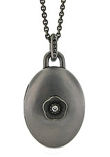 Cherry Blossom Locket in Blackened Silver with Diamonds by Catherine Iskiw (Silver & Stone Necklace)