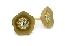Cherry Blossom Stud #1 in 18k with Diamonds by Catherine Iskiw (Gold & Stone Earrings)