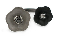 Cherry Blossom 2 Flower Ring in Silver with Black and Fancy Gray Diamonds by Catherine Iskiw (Silver & Stone Ring)