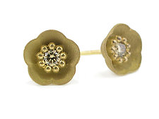 Cherry Blossom Stud #1 in 18k with Champagne Diamonds by Catherine Iskiw (Gold & Stone Earrings)
