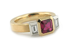Oblique 3 Stone Ring in 18k, Platinum, Ruby and Diamonds by Catherine Iskiw (Platinum, Gold & Stone Ring)
