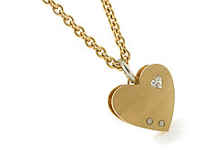 Medium City Heart in 18k and Platinum with Diamond by Catherine Iskiw (Platinum, Gold, & Stone Necklace)