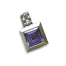Series 17 Enhancer in Platinum with Tanzanite and Diamonds by Catherine Iskiw (Platinum & Stone Necklace)