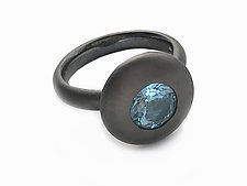 Ellipse Ring in Blackened Silver and Blue Topaz by Catherine Iskiw (Silver & Stone Ring)