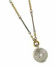 Archetype Small Pendant in Platinum, 18k and Diamond by Catherine Iskiw (Gold, Platinum & Stone Necklace)
