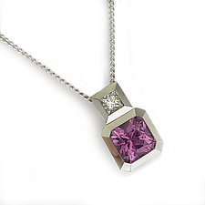 Oblique Pendant in 18k White Gold, Pink Sapphire, and Diamond by Catherine Iskiw (Gold & Stone Necklace)