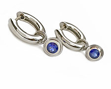 Simplicity Hoop in Platinum with Sapphire Drop by Catherine Iskiw (Platinum & Stone Earrings)