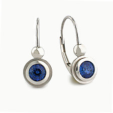 Simplicity Series Ear Wires in Platinum + Blue Sapphire by Catherine Iskiw (Platinum & Stone Earrings)