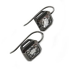 Oblique Ear Wires, no hooks, in Blackened Silver + Rock Crystal by Catherine Iskiw (Silver & Stone Earrings)