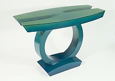 Teal to Green Hall Table by John Wilbar (Wood Console Table)