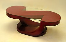 Halfnote Coffee Table by John Wilbar (Wood & Glass Coffee Table)