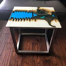 Lucid Accent Table by Sarinda Jones (Art Glass Side Table)