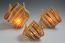 Glass Candleholder: Amber Stripe by Ed Edwards (Art Glass Candleholder)