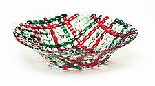 Christmas Confetti Glass Basket by Ed Edwards (Art Glass Bowl)