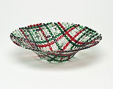 Christmas Confetti Glass Basket by Ed Edwards (Art Glass Bowl)