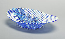 Blue Double Wave Oval Glass Basket by Ed Edwards (Art Glass Bowl)