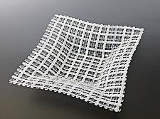 Soft White Crisscross Patterned Square Glass Basket by Ed Edwards (Art Glass Bowl)