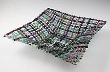 Napa Valley Harvest Square Quilt Basket by Ed Edwards (Art Glass Bowl)