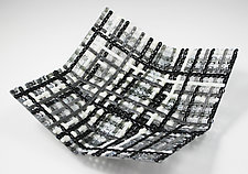 15 Shades of Gray Woven Origami Basket by Ed Edwards (Art Glass Bowl)