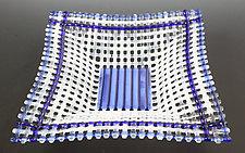 Blue Color Ring Basket by Ed Edwards (Art Glass Bowl)