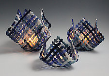 Blueberry Patch Candleholder by Ed Edwards (Art Glass Candleholder)