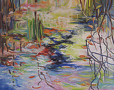 Early Spring Pond by Judy Hawkins (Oil Painting)