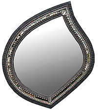 Gray Sparkle Leaf Mirror by Angie Heinrich (Mosaic Mirror)