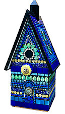 Royal Cottage Birdhouse by Angie Heinrich (Glass Sculpture)