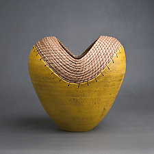 Slit Series in Ochre by Hannie Goldgewicht (Ceramic Vessel)