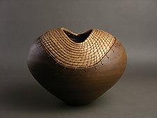 Brown Heart by Hannie Goldgewicht (Ceramic Vessel)