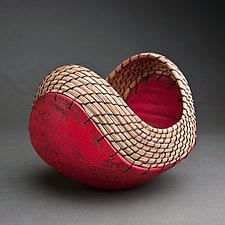Small Boat in Red by Hannie Goldgewicht (Ceramic Vessel)
