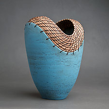 Slit Vessel in Turquoise by Hannie Goldgewicht (Ceramic Vessel)