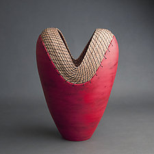 Tall Red Heart by Hannie Goldgewicht (Ceramic Vessel)