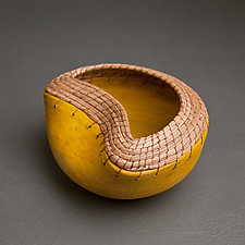 Irregular Bowl in Ochre by Hannie Goldgewicht (Ceramic Bowl)