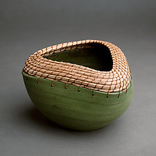 Triangle Bowl in Green by Hannie Goldgewicht (Ceramic Bowl)