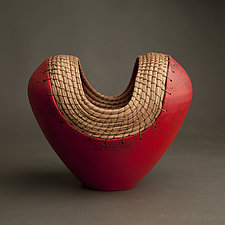 Small Red Heart by Hannie Goldgewicht (Ceramic Vase)