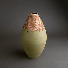 Bullet Vessel in Green by Hannie Goldgewicht (Ceramic Vessel)