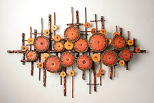 Ripples in Oranges by Hannie Goldgewicht (Mixed-Media Wall Sculpture)