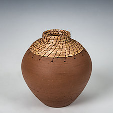 Brown Bud Vase by Hannie Goldgewicht (Ceramic Vase)