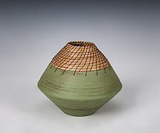 Green Volcano Vessel by Hannie Goldgewicht (Ceramic Vessel)