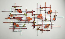 Fields by Hannie Goldgewicht (Mixed-Media Wall Sculpture)