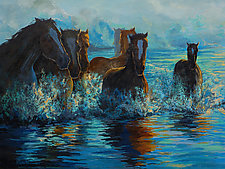 Fording Still Waters by Ritch Gaiti (Oil Painting)