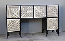 Cross-Hatched Console Cabinet by Kevin Irvin (Wood Cabinet)