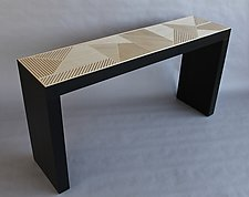 Cross Hatch Console Table by Kevin Irvin (Wood Console Table)