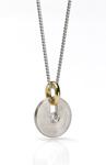 Slip Disk Pendant by Catherine Iskiw (Palladium, Gold & Stone Pendant)