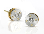 Riveted Set by Catherine Iskiw (Platinum, Gold & Stone Pendant & Earrings)