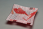 Light Red Double Wave Square Glass Basket by Ed Edwards (Art Glass Bowl)